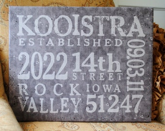 Address Canvas Print, Wedding Date, 16x20 Subway Canvas