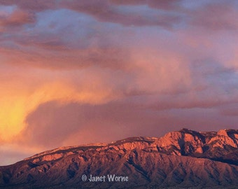 Watermelon Sky, sunset over the Sandia Mountains, New Mexico, fine art photograph