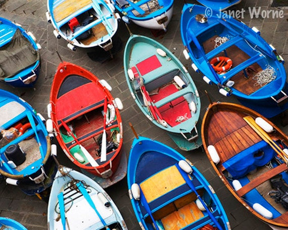 Fishing Boats, Fine Art Color Photograph, Italy