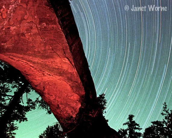 Star Trails, timed exposure, fine art photography, Red River Gorge
