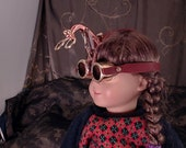 Steampunk Goggles for your American Girl Doll, Cat, or Small Dog- Brass Goggles- Flip Up Lens- Handmade All Metal- Plastic is Not Steampunk.