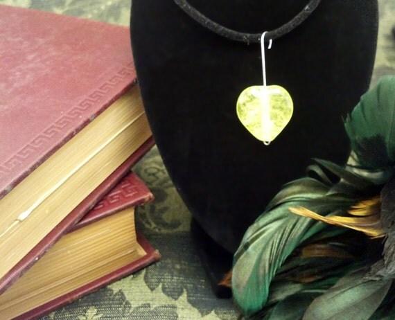 Uranium Glass Heart Bead - Hand Made Lampwork Recycled Glass