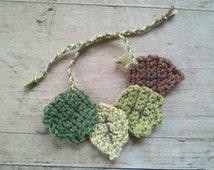 Crocheted Leaf Wine Charms (Set of 4) - Handmade