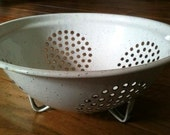 Vintage Shabby Chic Black and White Enamelware Strainer, Farmhouse Kitchen - Olives and Doves