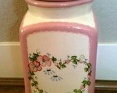 Shabby Chic Cameo Pink Cottage Style Pasta/Snack Jar with Flowers and Leaves - Olives and Doves