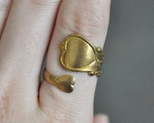 Vintage Brass Heart Spoon Ring