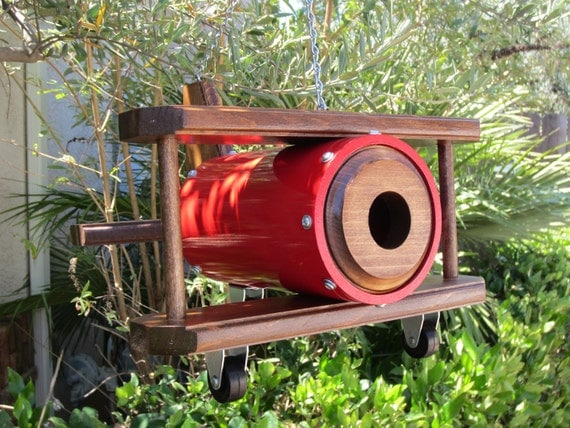 Bi-Plane Birdhouse - Red with Mahogany Red stained wood