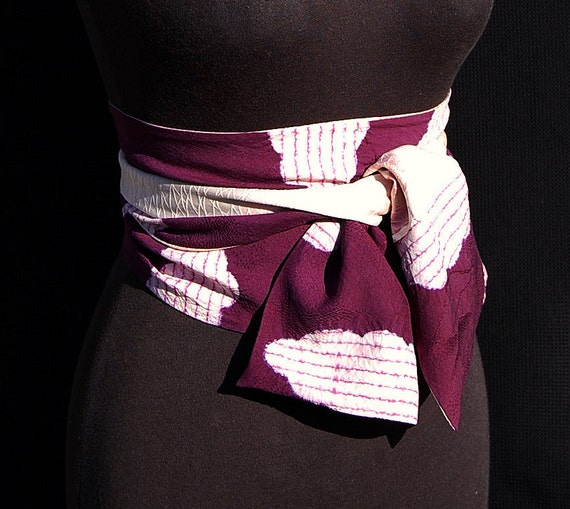 Reversible Vintage Silk Kimono Silk Scarf/Sash