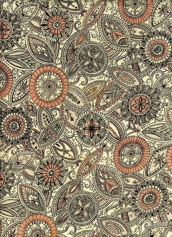 "Paisley Print Recycled Vintage Kimono Silk Panel -- 14"" x 44"""