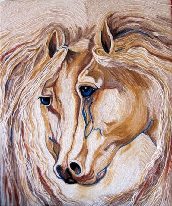 Two horses/ Non woven tapestry/ author's technique.
