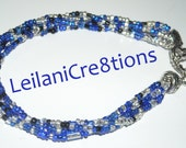 Royal Blue Bracelet with Sparkly Silver and Black Glass Beads, 5 Strand Seed Bead Jewelry