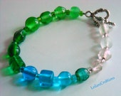 Cool Spectrum Bracelet: Dark Green, Light Green, Aqua, Clear, and Frosted White Glass Beads
