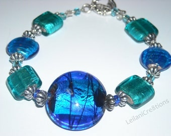 Paradise Glass Bead Bracelet Blue Aqua Tropical handmade