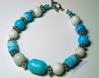 Handmade Sky Blue & White Glass Bead Bracelet