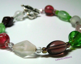Glass Bead Bracelet: white, purple, pink, green glass beads
