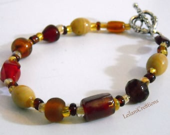 Desert Dunes Glass Bracelet with Red, Brown, Amber Glass, & Beige Beads