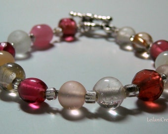 Blush Pink Bracelet with glass beads &  silver toggle clasp