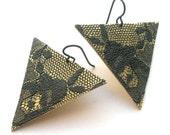 Brass and Lace Earrings, Large Triangle Earrings, Flower Earrings