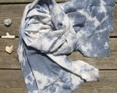 hand-dyed blue and white scarf, lightweight cotton