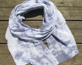 ON HOLD : hand-dyed scarf, blue and white, lightweight cotton