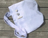hand-dyed cotton beach tote, pink, blue, and slate, crinkle cotton