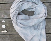 hand-dyed scarf, lightweight cotton, pale blue and sand