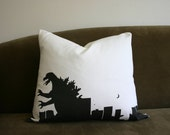 Black and White Godzilla Pillow