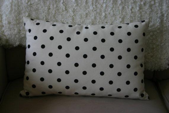 Pillow - Black and White Polka Dot Pillow - Accent Pillow - Cushion