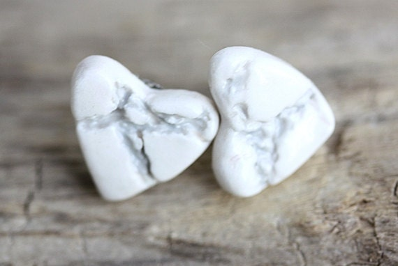 Heart Crackle Porcelain Earrings in Grey and White with .925 sterling silver components Made To Order FREE SHIPPING