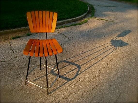 VINTAGE, Arthur Umanoff Chair, Bar Stool, Designer, Slatted, Wood, Wooden, Designer, Swivel, Accent, Metal. Iron