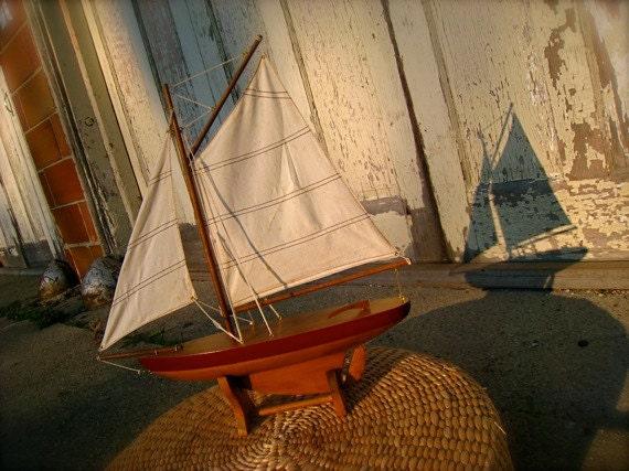 Vintage Wooden SHIP, Toy SAILBOAT, Sailing Ship, Wooden Sail Boat, Boy's Room, Children's Room Decor