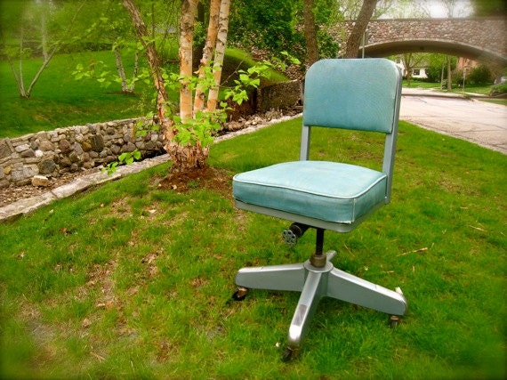 Vintage Swivel Office Chair Mid Century Aluminum Teal