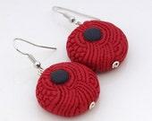 tribal red and black OOAK round hanging earrings