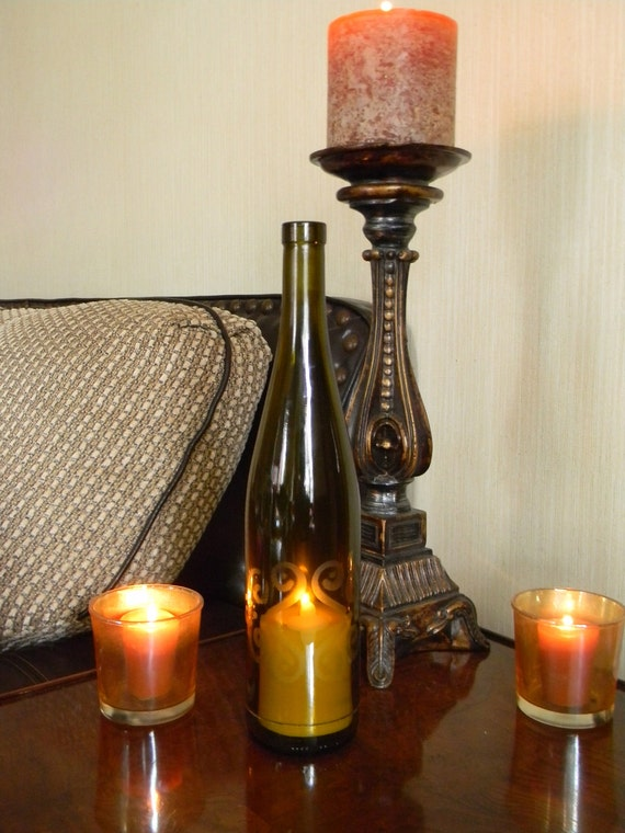 Decorative wine bottle candle holder for How to make candle holders out of wine bottles