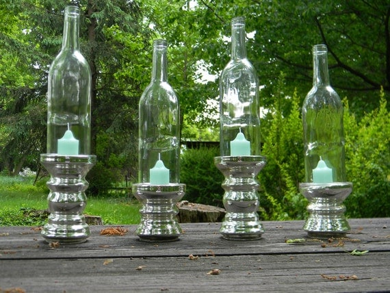 Magnificent Multi Height Silver Wine Bottle Candle Holders