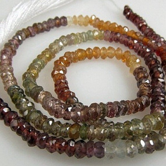 Sapphire and Garnet Bati AA faceted rondelles 3mm- Code 0002