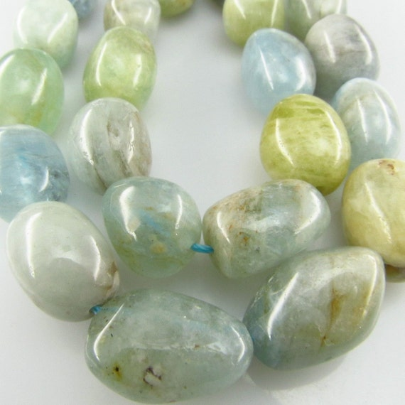 16 inch Natural Aquamarine large nugget gemstone beads 14mm to 18mm ET009