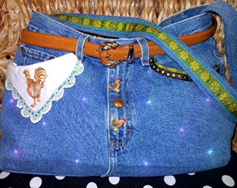 Upcycled Recycled Jeans Purse Vintage Rooster - NANCY
