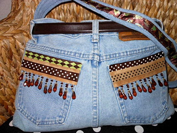 Upcycled Recycled Jeans Purse Coffee Themed:  MEGAN