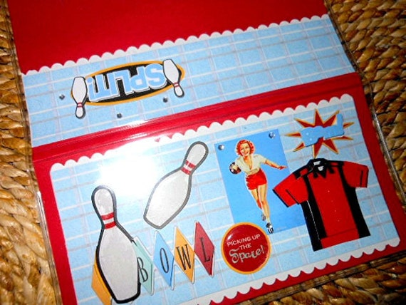 Vintage Bowling Scrapbooked Checkbook Cover