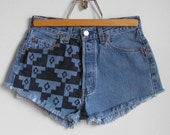 CLEARANCE SALE Vintage Levi's High Waisted Button Fly Aztec Print Shorts - Size Medium