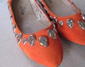 Orange Skull And Heart Studded Flats - Ladies Size 9
