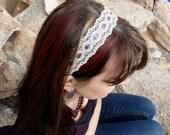 """No-Slip Headband - 1 1/4"""" Ivory and Grey Lace"""