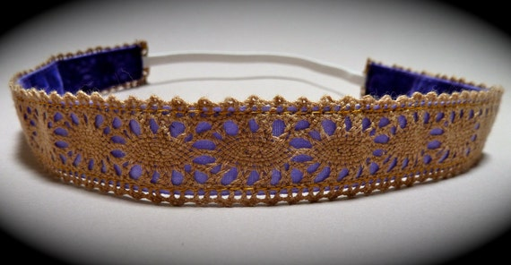 "No Slip - 5/8th"" Brown lace with purple backround Headband"