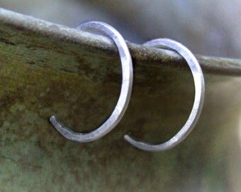 """Tiny Sterling Hoops - silver hoops reverse hoop earrings eco-friendly recycled simple lightly hammered 1/2"""" (10mm 12mm) unisex nose tragus"""