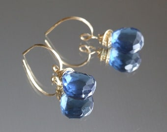 London Blue Quartz earrings - gold silver half-hoop huggie ear post dangle drop gemstone original jewelry design bride Gift