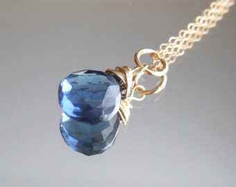 London Blue Quartz necklace - gold-filled royal blue wire-wrapped gemstone jewelry design bridesmaid Gift