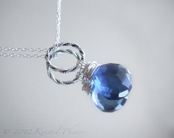 London Blue Quartz necklace - sterling silver royal dark blue wire-wrapped gemstone jewelry design recycled bridesmaid Gift