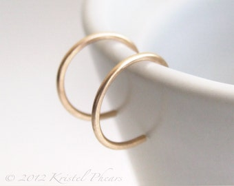 """Tiny Gold Hoops - reverse hoop earrings 14k Gold-Filled simple classic minimal 1/2"""" (10mm 12mm) yellow rose white eco-friendly unisex gift"""
