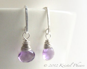 Amethyst Earrings Silver - lavender purple ear wire wrapped natural gemstone post dangles February birthstone birthday gift in sterling